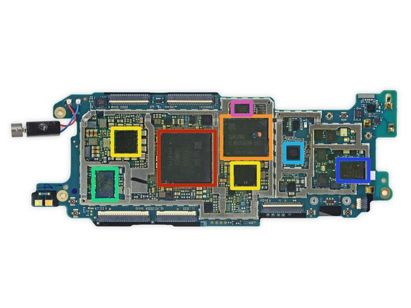 Image 1/2: Samsung [https://memorylink.samsung.com/ecomobile/mem/ecomobile/product/productDetail.do?topMenu=P&subMenu=mobileDram&partNo=K3RG3G30MM-MGCH&partSetNo=LPDDR4&partSetLabel=LPDDR4|K3RG3G30MM-MGCH|new_window=true] 3 GB LPDDR4 RAM + Qualcomm [https://www.qualcomm.com/products/snapdragon/processors/810|Snapdragon 810|new_window=true] octa-core CPU
