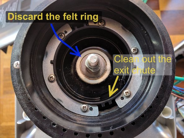 Remove and discard the felt ring. It is usually pretty ratty and the new impeller hugs the pedestal more closely and doesn't need it.