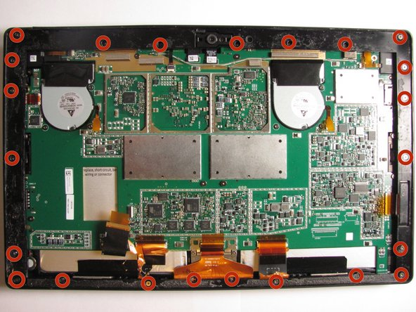 Using a T5 Torx screwdriver, remove a total of 23 screws from the screen bezel of the Surface Pro.