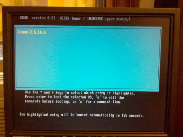 Here is the Grub boot loader screen.  I did log in to this machine in single user mode.  If you manage to find a used Bomgar, with no password, possession does not mean you can get it to work.  There is no way to reset the box to factory defaults without already knowing the password.