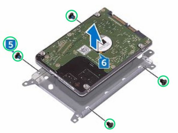 Remove the four screws (M3x3) that secure the hard-drive bracket to the hard drive.