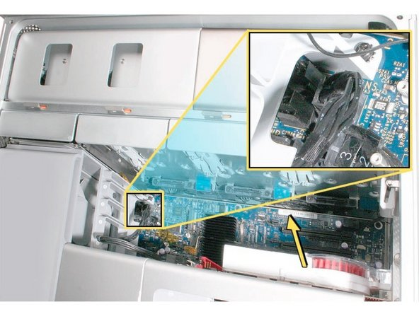Image 1/2: Some graphics cards require either one or two booster cables connecting the card to the auxillary power connectors on the logic board.