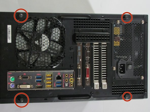 Find the screws that are holding together the side of your computer case and unscrew them.