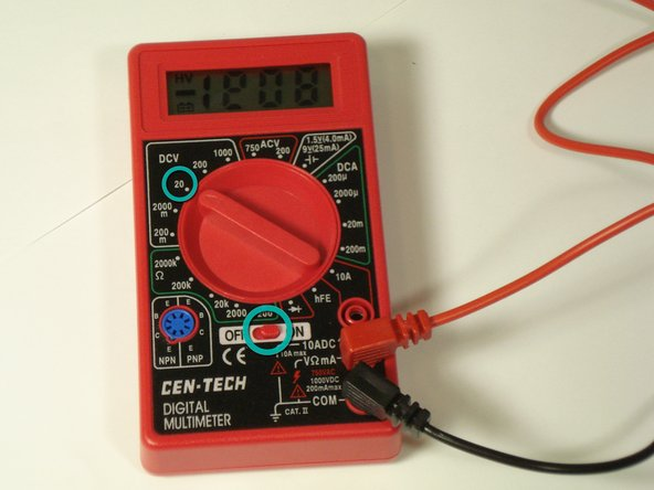 Turn the multimeter on.