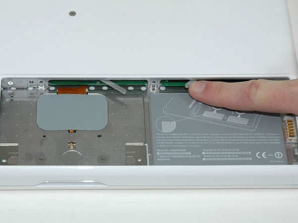 Image 1/1: Unlike the iBook line, the MacBook has two RAM slots, which allows for up to 2 GBs of memory.
