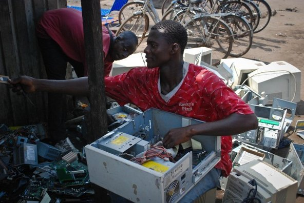 Worker at an electronics scrapyard in Agbogbloshie