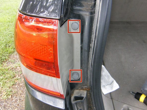 Open the tail gate and locate the two fasteners holding the light assembly to the quarter panel.