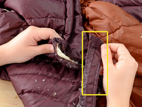 Image 3/3: Be careful not to damage the jacket with the seam ripper as you free the webbing.