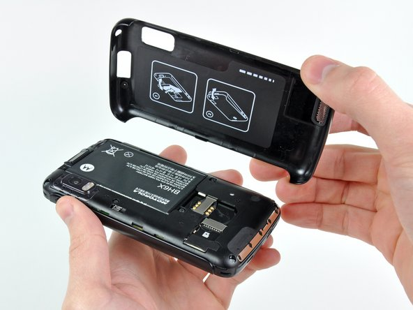 The Atrix' back cover comes off easily, providing access to the user-serviceable battery and the microSD card slot.