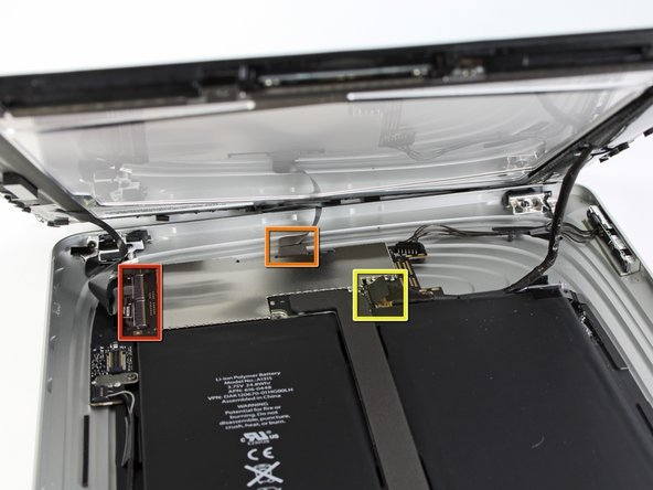 Image 1/1: In the following steps, you will disconnect the three cables attaching the display assembly to the logic board. The cables are for the following components: