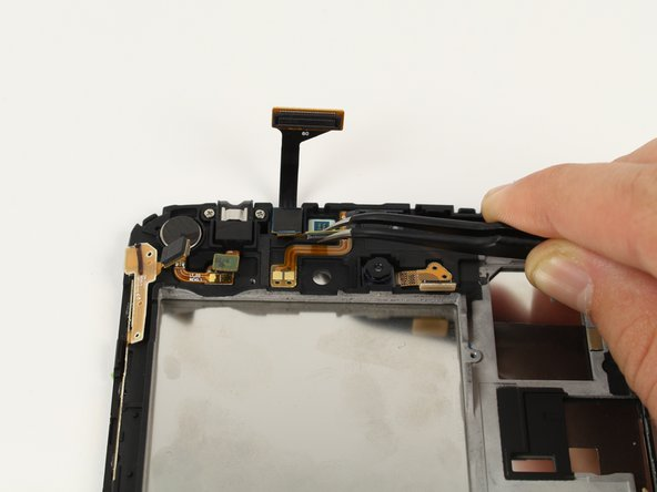 Be careful and gentle when removing the connection for the front camera. You may want to use a heat source, such as a heat gun or a blow dryer, to dissipate the glue.