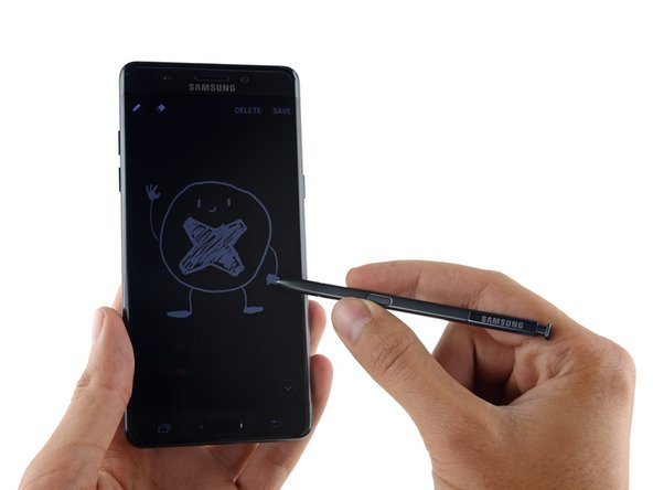 Our teardown hands are itching to get down to business, but we take a moment to test out the S Pen.