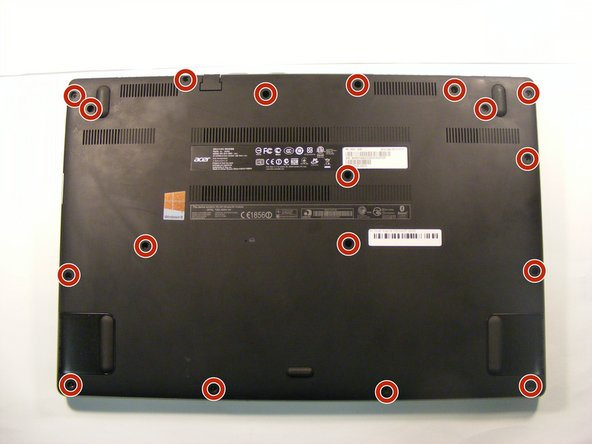 Use a Phillips #1 screwdriver to remove all eighteen 2.12 mm screws from the back plate of your Acer Aspire.