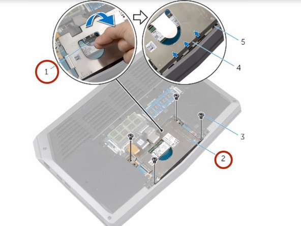 Using the pull tab, pivot the solid-state drive bracket and peel off the  bracket from the tabs on the computer base.
