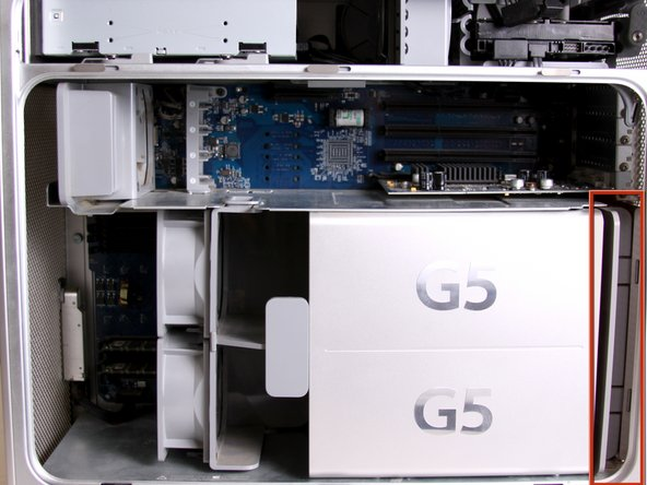 Image 2/2: The cooling fan unit is located on the bottom right of the Apple G5 Desktop.