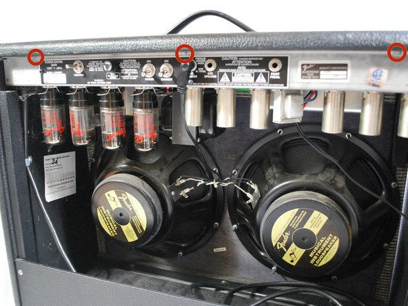 Remove the quarter inch speaker cable from the jack in the back of the amp.