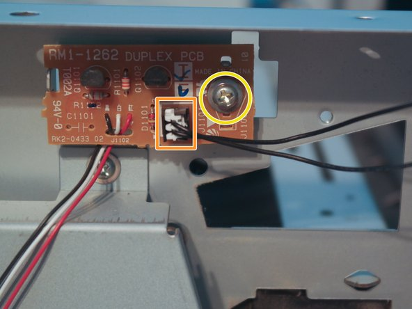 Disconnect the duplexer solenoid cable from the duplexer PCB.
