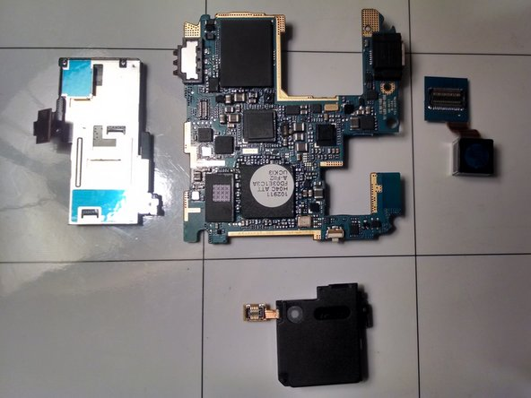 Shown here are all the pieces of the motherboard.