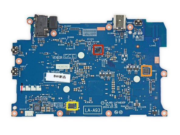 A few straggler ICs reside on the back side of the motherboard: