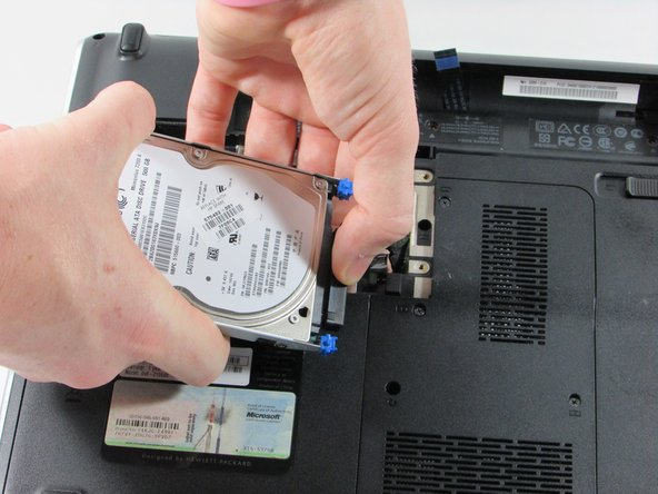 When removing the Hard Drive from the frame, you will see a black connector on it's right side.