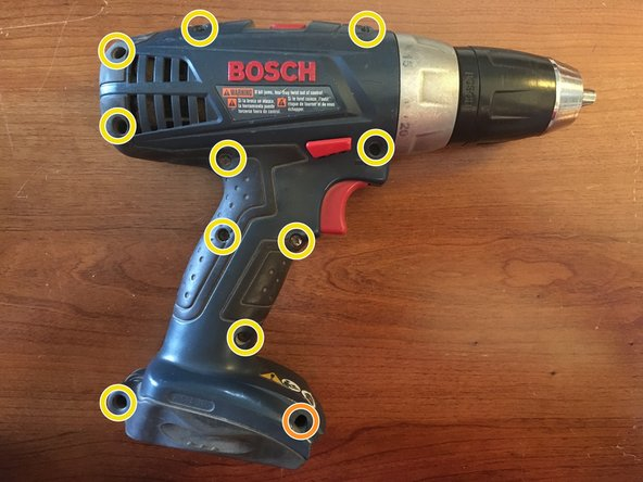 Remove the 11 T10 Torx screws from the exterior of the drill driver.