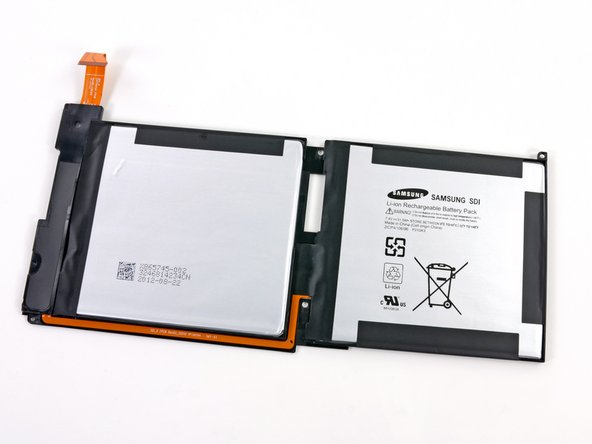 Image 2/2: We get our first look at the battery. As is the norm, the dual battery cell is adhered to the [http://www.wpcentral.com/microsoft-surface-tablets-sport-vapormg-casing|VaporMg] rear case.