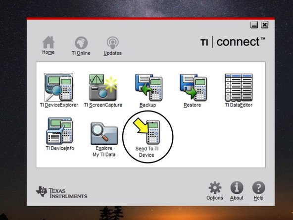 Once TI Connect has installed, open the TI Connect app. Click on Send to Device.