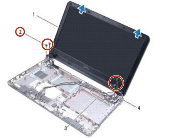 Replace the four screws that secure the display assembly to the computer base.