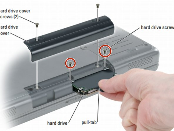 Removing the two screws from the hard-drive.