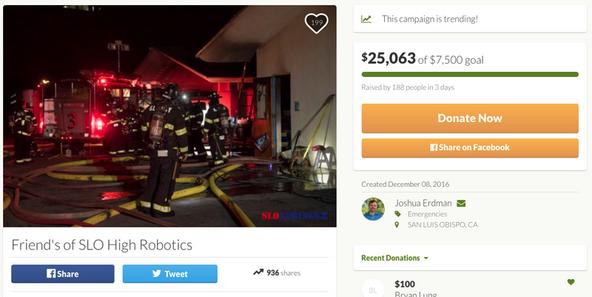 GoFundMe campaign for San Luis Obispo high school robotics team