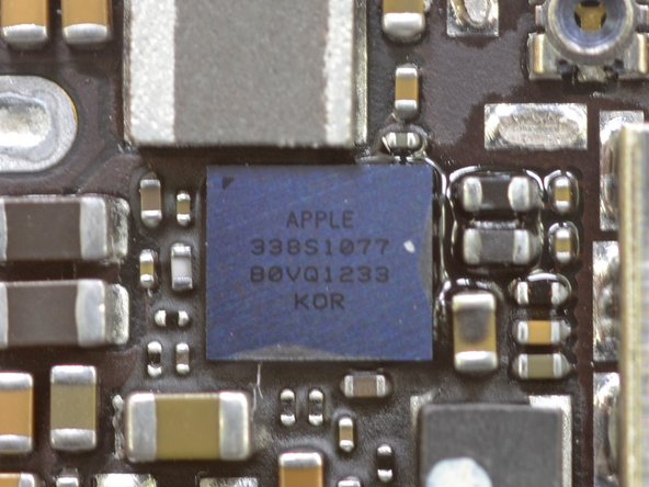 Image 1/1: Did someone ask for a close-up of the Apple 338S1077 Cirrus audio codec?