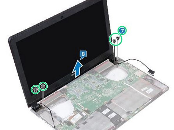 Replace the four screws (M2x5) that secure the display assembly to the computer base.