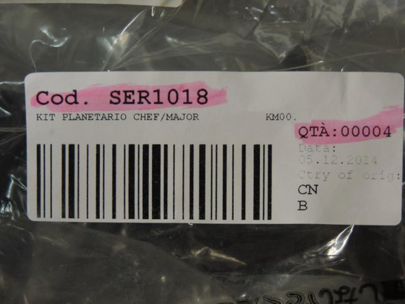 Cod. SER1018: Etikette vom Plastikbeutel welcher die drei Ersatzteile beinhaltet