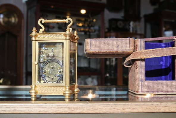 Clocks in a watchmaker workshop