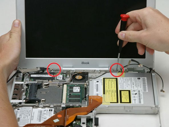 Support the display with your free hand while removing the following screws.