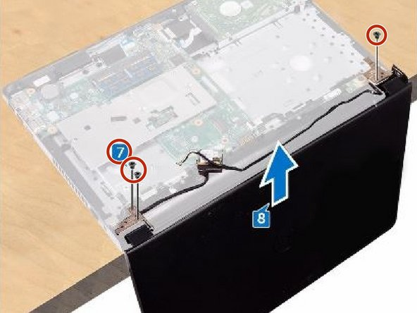 Remove the three screws (M2.5x8) that secure the display-hinge brackets to the palm-rest assembly.