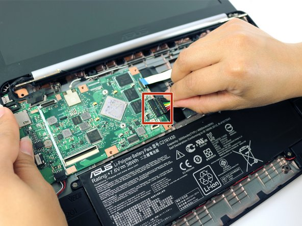 Pull the battery cable from the motherboard.