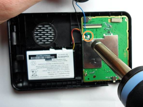 Image 2/2: Solder the blue wire to the motherboard.