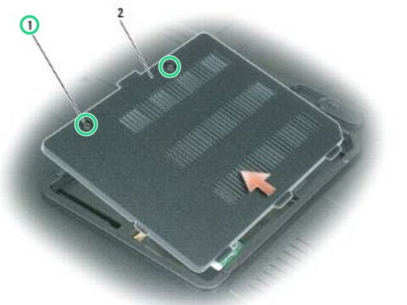 Loosen the two captive screws on the memory module/modem cover and remove the cover.