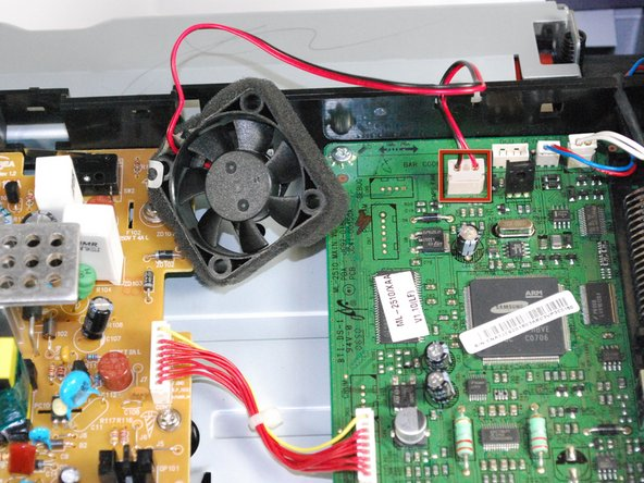 Once the fan is detached, unplug the fan from the circuit board.