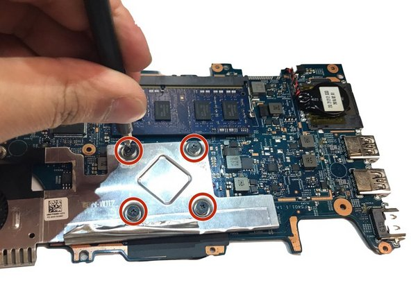 Remove the 4 screws from the motherboard with a Phillips 00 Screwdriver.