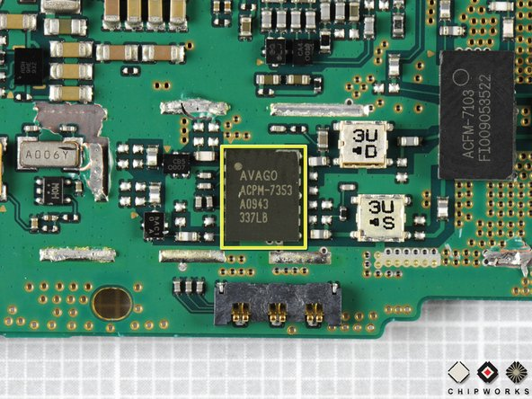 Image 3/3: Another Avago chip, the ACPM-7353, provides dual band power amplification for cellular and PCS connectivity.