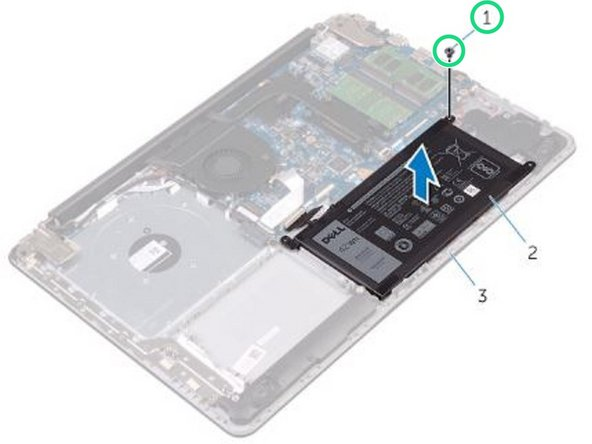 Remove the screw that secures the battery to the palm rest and keyboard assembly.