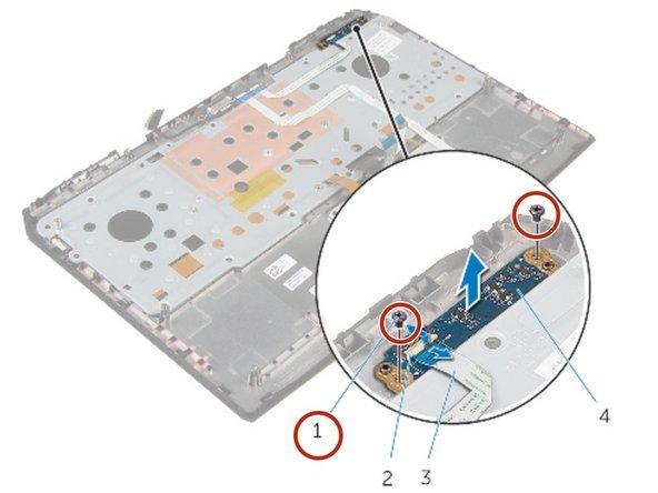Align the screw holes on the status-light board with the screw holes on the palm-rest assembly.