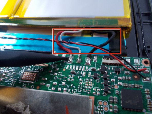 Remove old motherboard from tablet. Take the new motherboard and splice the black wire of the board to the black wire of the battery. Do the same for the white and red wires.