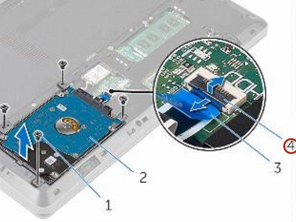 Abra el pestillo y desconecte el cable del disco duro de la placa del sistema.