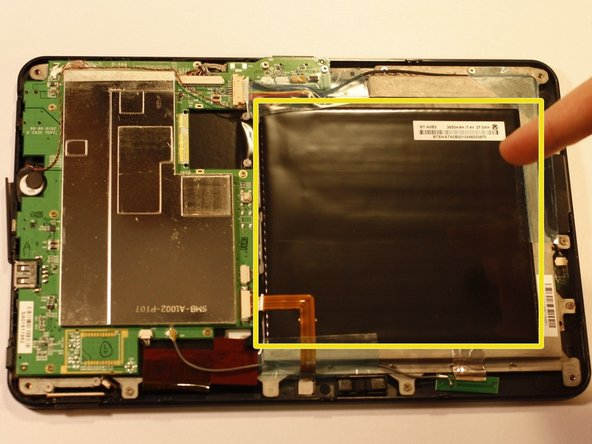 The battery is the large black square that dominates much of the device interior.