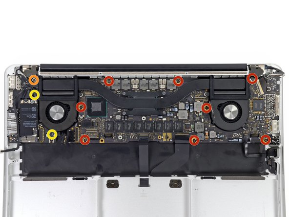 Remove the following screws securing the logic board to the upper case: