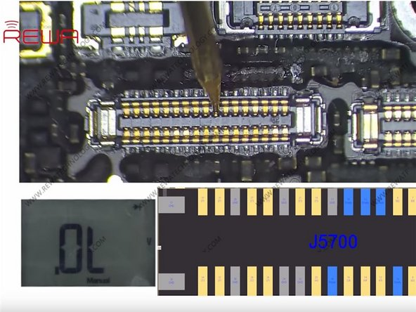 Let's check the display circuit first. Run diode mode measurement of the display connector J5700. The measured value is normal. So the display problem has nothing to do with the display circuit.