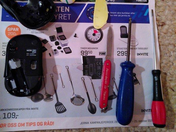 Sharp object, cross and flat screwdriver